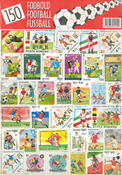 150 DIFF. FOOTBALL STAMPS 21X30 CM