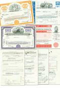 20 kpl amerikkalaisia osakekirjoja - 1950-, 1960- ja 1970-luvuilta