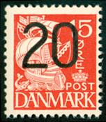 Danmark - AFA nr. 264a - Provisorie 20/15 øre rød Karavel