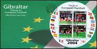 Gibilterra - Europei di calcio 2004 (rotondo) - fogl. su busta primo giorno