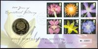 England - Blomster - Flot møntbrev
