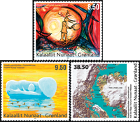 Greenland - Modern art - Mint set 3v.