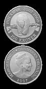 100 kr. sølvmønt - Polarmønt isbjørn - Med abonnement.