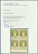 Groenland Parcel post blok van 4