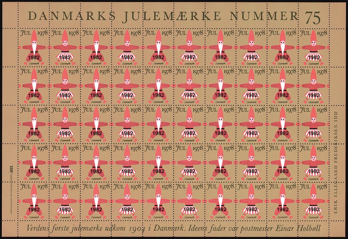 Danmark - Julemærkeark 1982 overtrykt på 1978