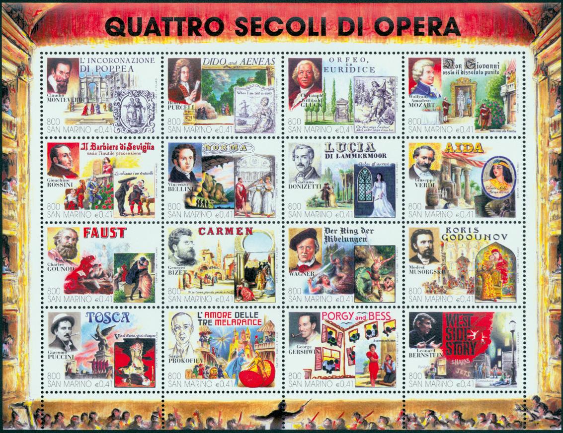 San Marino - Opera og musicals - Postfrisk miniark