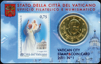 Vatican - Beatification Pope J. Paul - Card with stamp and coin