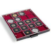 coin box 20 square compartments  50 x 50 mm  smoke  coloured