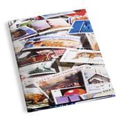 Classeur Leuchtturm STAMP - illustré - A4 - 16 pages noires - décoration avec motifs de timbres