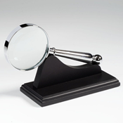Chromed-plated Magnifier withwooden support, magnification4 x, Ø 58 mm