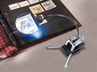 Loupe de bureau avec bras flexible grossissement 2,5x et 5x, 2 LED incluses