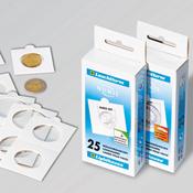 Møntholdere MATRIX hvid 32.5 mm selvklæbende - pk.  med 100 stk. - Leuchttur
