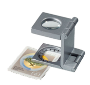 Folding magnifier 10x magnification, metal, silver-coloured