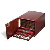 Muntenbox kabinet voor 10 stuks standaard muntenboxen - Mahonie uit