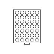 Møntboks - Grå - 35 runde inddelinger med 32,5 mm Ø
