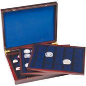 Presentation Case VOLTERRA TRIO de Luxe, with square divisions for coins Ø of 30, 39, 48mm