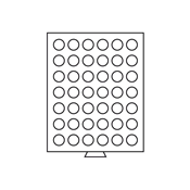 Møntboks - Grå - 42 runde inddelinger med 29 mm Ø