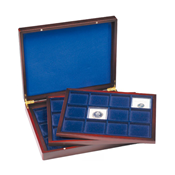 Presentation Case VOLTERRA TRIO de Luxe, each with  12round divisions for coins up to 66mmØ