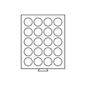 Møntboks - Røgfarvet - 20 runde inddelinger med 38  mm Ø