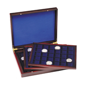 Presentation Case VOLTERRA TRIO de Luxe, each with  30square divisions for coins up to 39mm