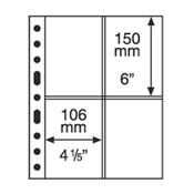 hojas de plástico GRANDE, 4 divisiones para Tarjetas Postales, transparente