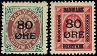 Danmark provisorier 1915, AFA nr. 82-83 - Ubrugt