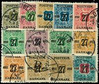 Danmark provisorier 1918, AFA nr. 85-97 - Stemplet
