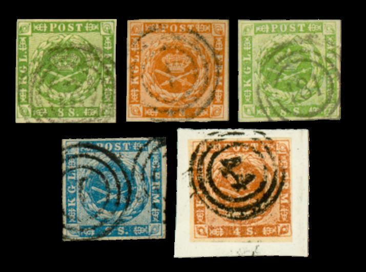 Danmark - alle 5 skillingsmærker