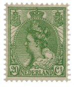 Nederland - 20ct groen uit bontkraagserie (nr.68 ongebruikt)