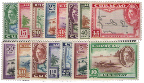 Curacao - Koningin Wilhelmina met versch. voorstellingen (lp