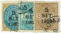 Dansk Vestindien 1905 - AFA nr.33-35 - Stemplet
