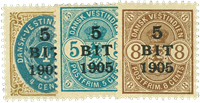 Dansk Vestindien 1905 - AFA nr.33-35 - Ustemplet