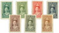 25 jarig regeringsjubileum koningin Wilhelmina (nr. 75-81, ongebruikt)