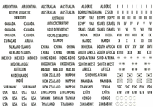 Country Labels with gold lettering Canada, USA and  many more