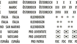Country Labels with gold lettering Switzerland, France, Austria and many more