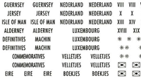 Country Labels with gold lettering North and West Europe