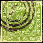 Danmark 1854 - AFA nr. 5 - 8 Skilling grøn