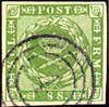 Danmark 1858 - AFA nr. 8 - 8 Skilling grøn