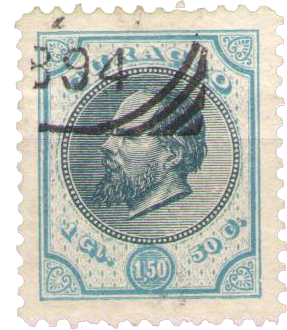 Curacao - 1 1/2 gld donkerblauw en lichtblauw Willem III 1889 (nr. 11, gebr