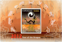 Curacao - Year of the dragon - Mint souvenir sheet