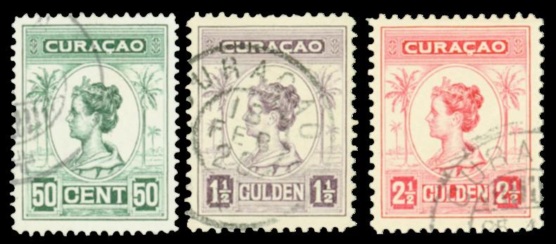 Curacao - Koningin Wilhelmina 1916 (nr. 68-70, gebruikt)