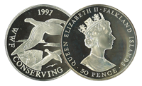 Falklandsøerne - Albatros WWF - Flot sølvmønt proof kvalitet med tekstkort og ægthedsbevis
