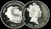 Bermudes - Lézard brillant WWF - Belle monnaie en argent proof avec certificat d'autenticité et texte