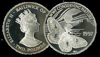 Guernsey - Natpåfugleøje WWF - Flot sølvmønt i proof kvalitet med tekstkort og ægthedsbevis