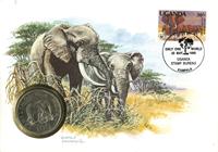 Uganda - Elefant WWF - Flot møntbrev