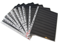 A4 stock card with 10 strips black 205x290 mm with  a plastic pocket