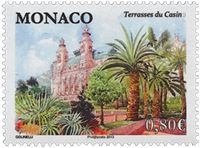 Monaco - The Park in front of the Casino - Mint stamp