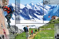 Switzerland - Alpine club 150 year - Mint souvenir sheet