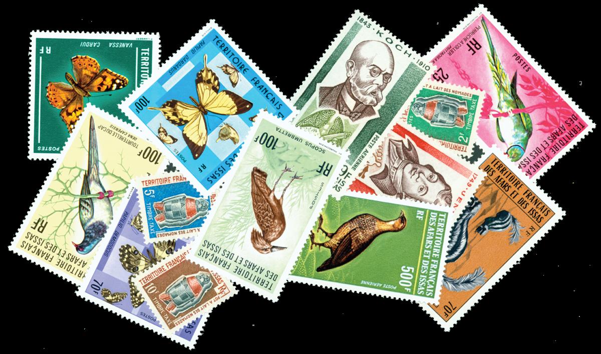 AFArs et Issas 6 timbres différents - Valeur Yvert jusqu'á 8,00 / 14,50 / 42,00 ¤ le timbre