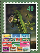 Thematic stock book + 50 airplane stamps